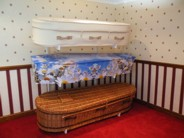 Contemporary willow, picture and woollen coffins
